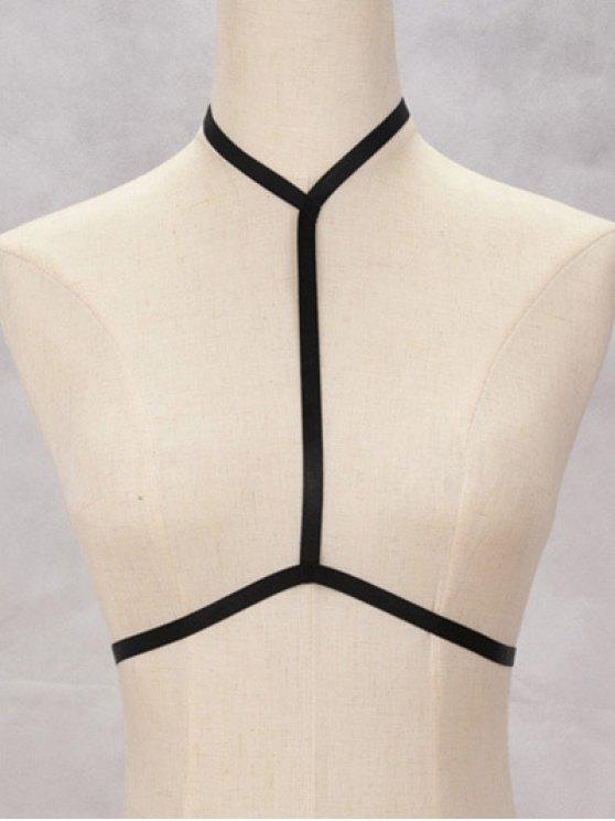 shop Bra Bondage Harness Hollow Out Body Jewelry - BLACK