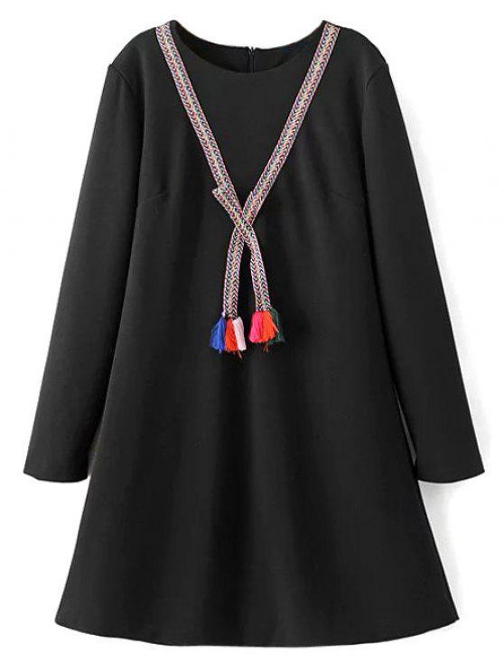 Borlas vestido de la túnica - Negro M
