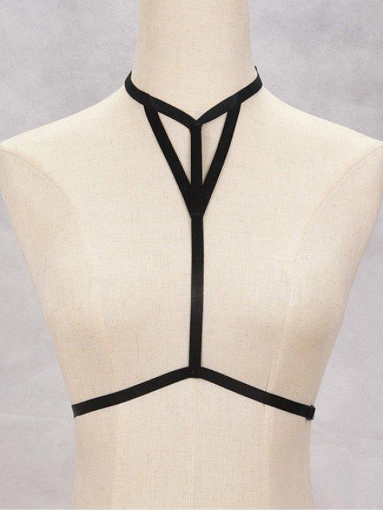 Bijou du corps ajouré à bretelle en forme du soutient-gorge - Noir