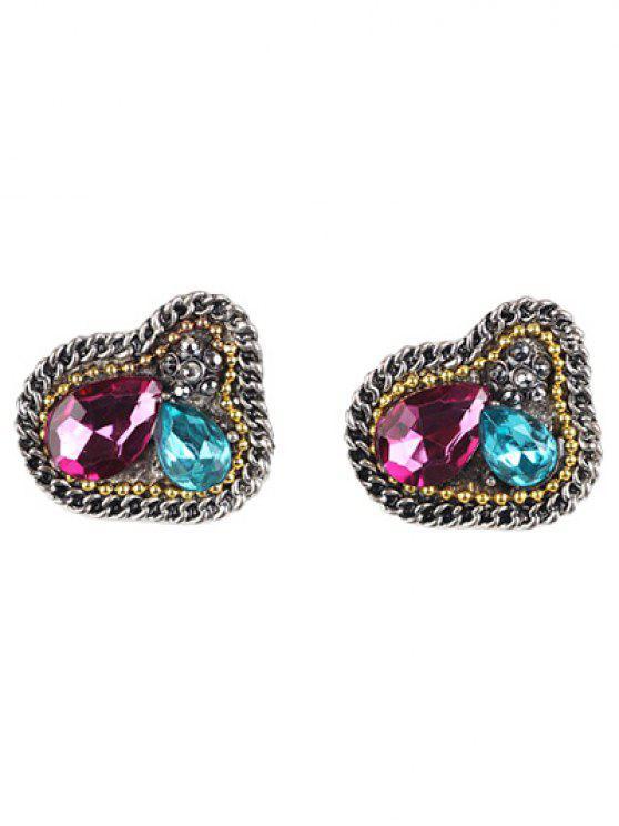 Boucles d'oreilles vintage embellies bijou faux - Multicolore