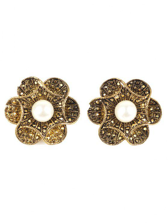 unique Adorn Artificial Pearl Flower Earrings - BRONZE-COLORED
