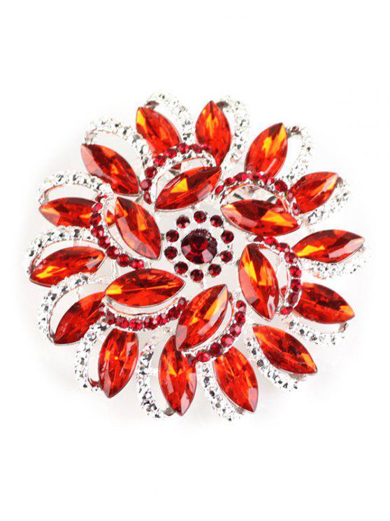 Broche Floral y Brillantes - Rojo