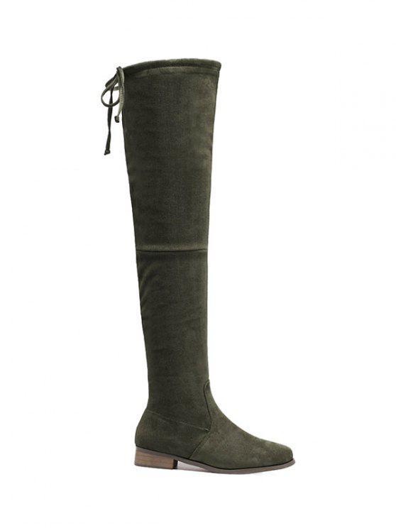El talón plano de la cremallera Flock cosa botas altas - Verde del ejército 38