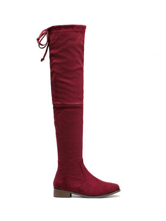 womens Flat Heel Flock Zipper Thing High Boots - WINE RED 39