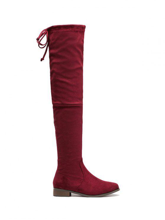 womens Flat Heel Flock Zipper Thing High Boots - WINE RED 39