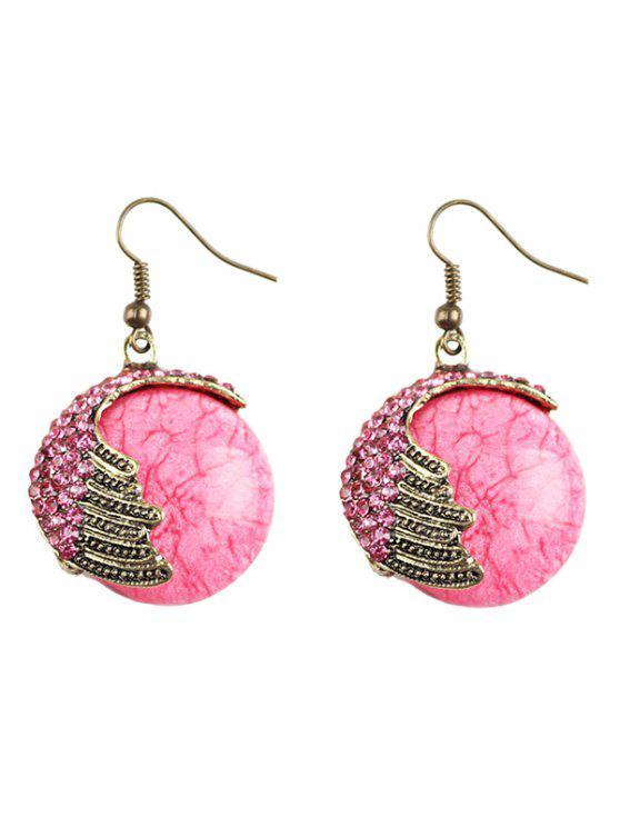 Boucles d'oreilles en pierre naturelle ornées des strass - ROSE PÂLE