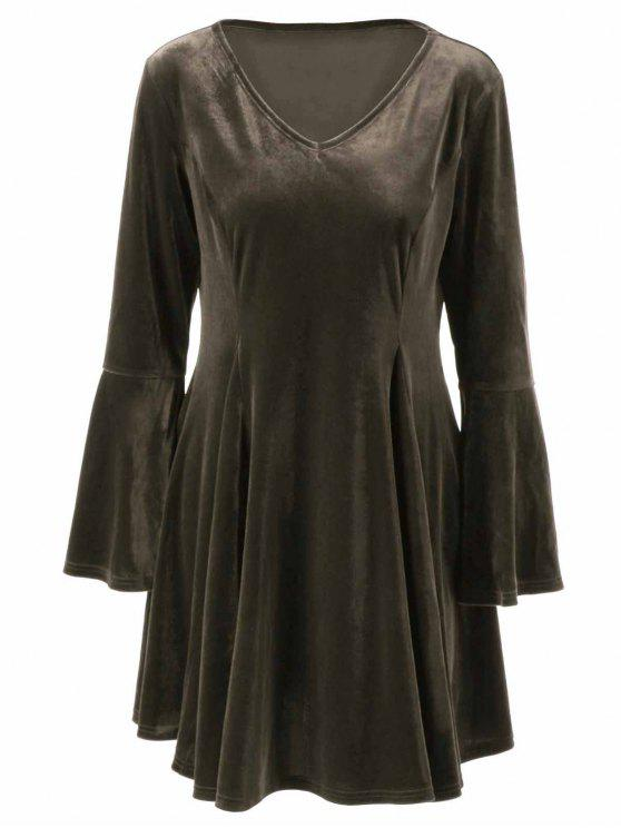 Velvet Bell Sleeves Fit e Flare Dress - Bronze 4XL
