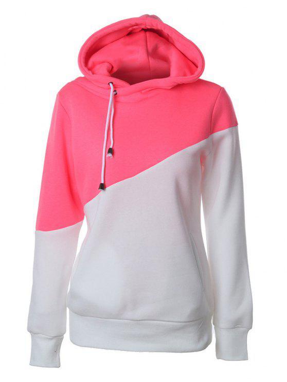 Hoodie casual à couleur color block - Rouge et Blanc L