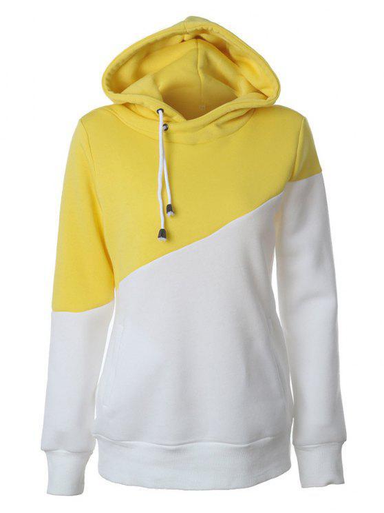 Hoodie casual à couleur color block - Jaune L