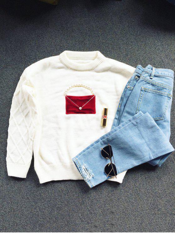 Pull tricoté decoré faux perles avec col rond - Blanc Cassé TAILLE MOYENNE