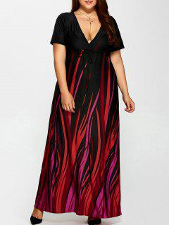 Plus Size Printed Empire Waist Maxi Formal A Line Party Dress - Black 3xl