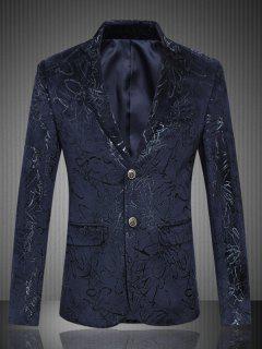 Flap Pocket Single Breasted Jacquard Blazer - Purplish Blue L
