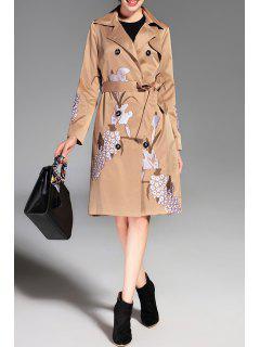 Bouton Manteau De Duvet Brodé Trench Avec Ceinture - Kaki L