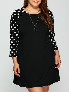 Polka Dot Print Sleeve Plus Size Dress - Black 2xl