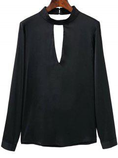 Open Back Choker Detail Satin Blouse - Black S