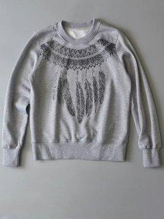 Aztec Feathers Print Sweatshirt - Gray S