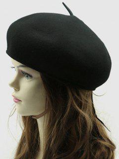 British Style Winter Wool Beret - Black