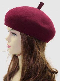 British Style Winter Wool Beret - Wine Red