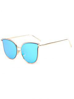 Hollow Out Butterfly Shaped Mirrored Sunglasses - Ice Blue