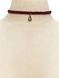 Water Drop Weaving Neckband Choker Necklace - Red