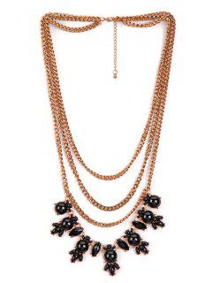 Faux Gem Layered Sweater Chain - Black