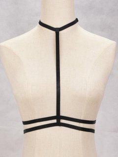 Hollow Out Bra Bondage Harness Body Jewelry - Black