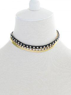 Tiered Faux Leather Choker Necklace - Black