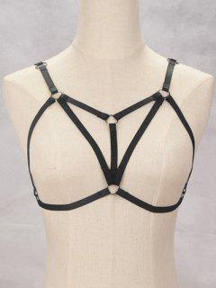 Bra Bondage Harness Embellished Body Jewelry - Black