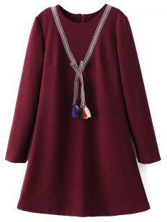 Tasselled Chevron Tunic Dress - Burgundy S