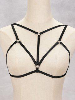Bra Bondage Harness Hollowed Body Jewelry - Black