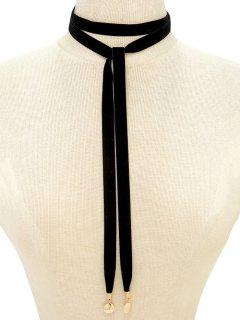 Choker Velvet Drawstring Sweater Chain - Black