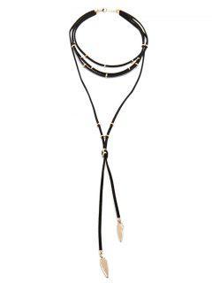 Collar Gargantilla Largo Del Ante Con Gradas - Negro
