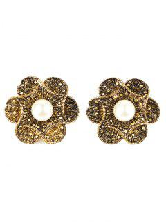 Adorn Artificial Pearl Flower Earrings - Bronze-colored