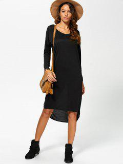 Batwing Sleeve Scoop Neck High Low Dress - Black S