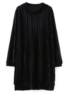 Elastic Hemline Relaxed Velvet Dress - Black M