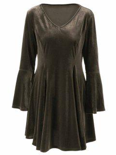 Velvet Bell Sleeves Fit And Flare Dress - Bronze Xl