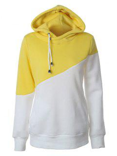 Casual Color Block Hoodie - Yellow Xl