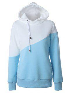 Casual Color Bloque Con Capucha - Azul Y Blanco M