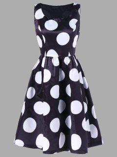 Polka Dot Printed Fit And Flare Dress - White And Black Xl