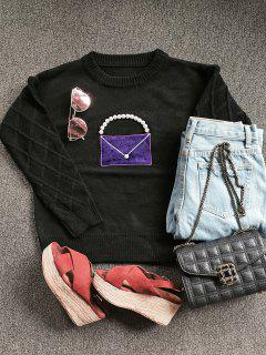 Faux Pearl Crew Neck Patch Sweater - Black