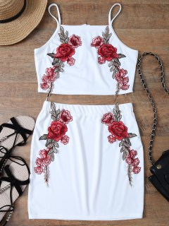 Floral Embroidered Zippered Top With Skirt - White L