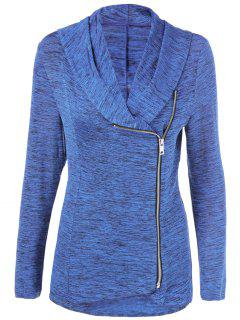 Heather Side Zipper Plus Size Jacket - Blue Light 3xl