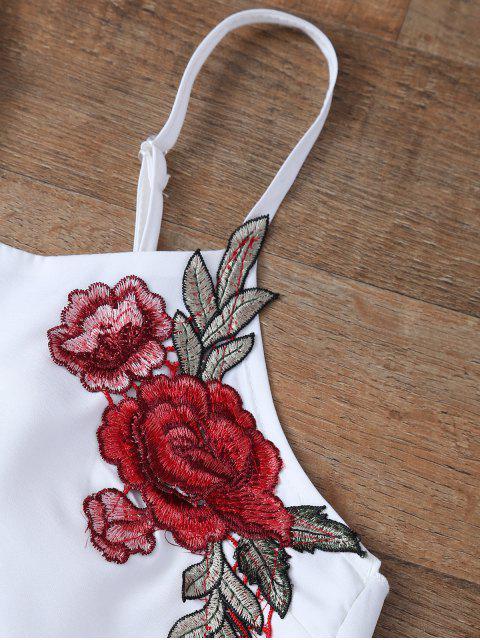 Haut avec nœud papillon et Shorts avec broderie florale - Blanc XL Mobile