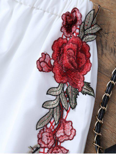 Haut avec nœud papillon et Shorts avec broderie florale - Blanc L Mobile
