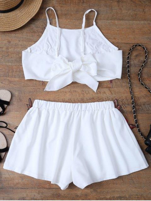 Haut avec nœud papillon et Shorts avec broderie florale - Blanc M Mobile