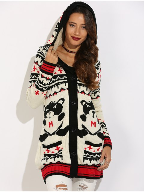 women Graphic Geometric Knit Graphic Cardigan - WHITE XL Mobile