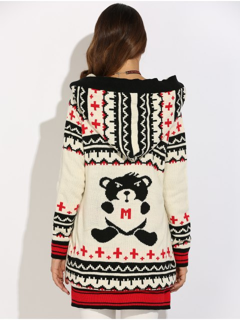 lady Graphic Geometric Knit Graphic Cardigan - WHITE S Mobile