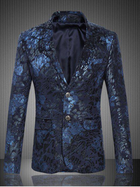 Klappen Tasche Revers Einreiher Jacquard Anzug - Dunkel Blau 6XL Mobile