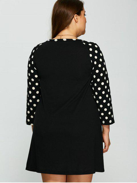 shops Polka Dot Print Sleeve Plus Size Dress - BLACK 2XL Mobile