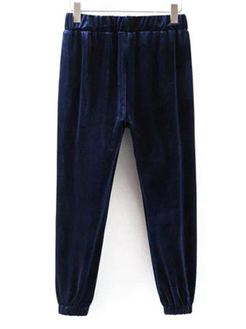 ladies Drawstring Velvet Joggers Pants - CADETBLUE M Mobile